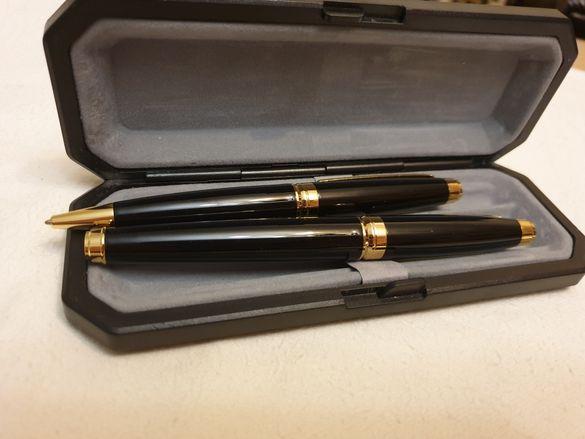 Комплект черни луксозни химикалка и писалка