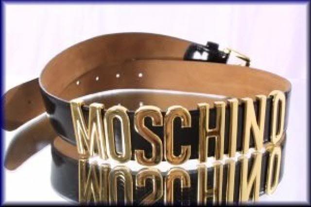 Curele Moschino/logo metalic auriu/culori alb si negru