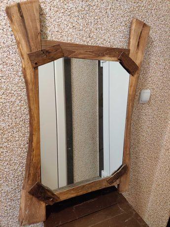 Орехово огледало, закачалка, лампа и закачалка за ключове