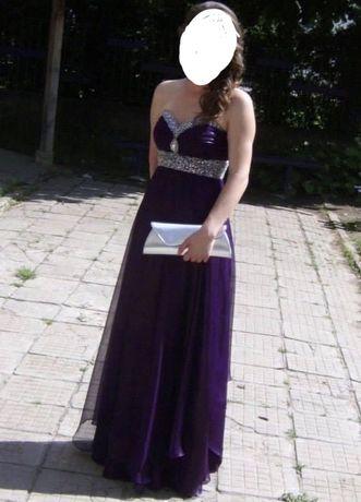 Официална дълга  рокля от шифон, М размер в лилаво