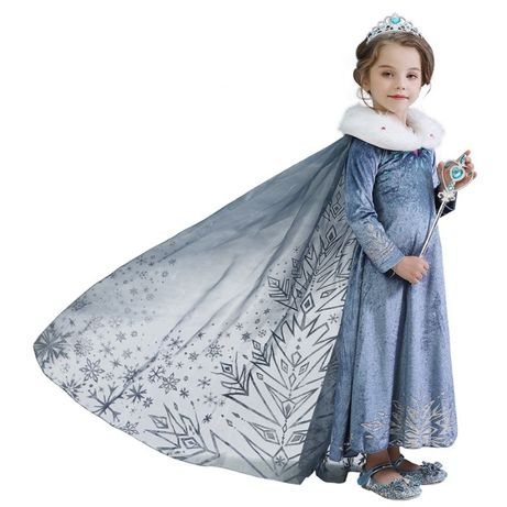 Rochita/ Rochie printesa Elsa Frozen NOUA cu trena 4,5 si 6 ani