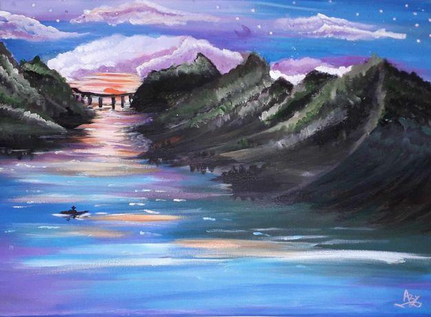 """Pictura in culori acrilice """"Lilac Sky"""""""