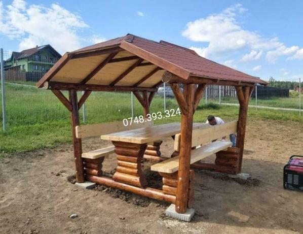 Foisor  din lemn masiv  bușteni  masă cu bănci