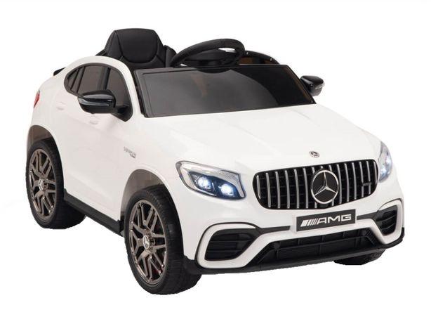 Masinuta electrica Mercedes GLC63s 70W 12V cu Scaun Tapitat #Alb