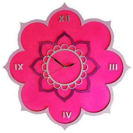 Ceas de perete Mandala Floare de Lotus, personalizabil, lemn, 50 cm