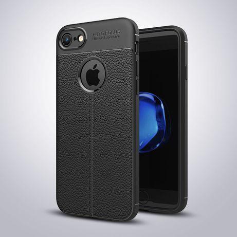Husa iPhone 8 / 7, silicon + TPU cu model piele, back cover, CaseMe