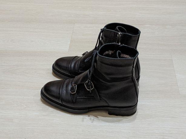 Ботинки зимние. Кожаные ботинки. Монки. Броги. Ботинки оригинал.