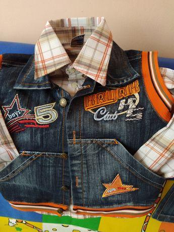 92 размер нов дънков комплект елек, риза и панталон