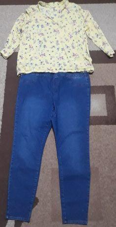 set bluza noua bust 130 cm si blugi talie 130-135 cm, lungime 110 cm