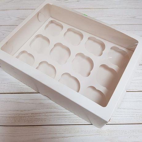 Коробка под 12 капкейков, коробка с окном, коробка для капкейков