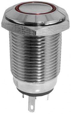 Comutator, Metalic, Antivandalism, Cu Led, Fara Retinere - 17,7x33,4mm