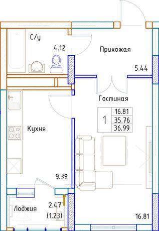 Однокомнатная квартира в районе нового вокзала Нурлы Жол