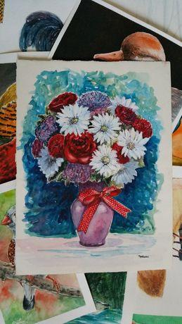 Acuarela neinramata vaza cu flori (tablouri tablou picturi)
