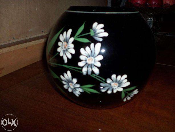 Superb vas de flori vintage pictat manual