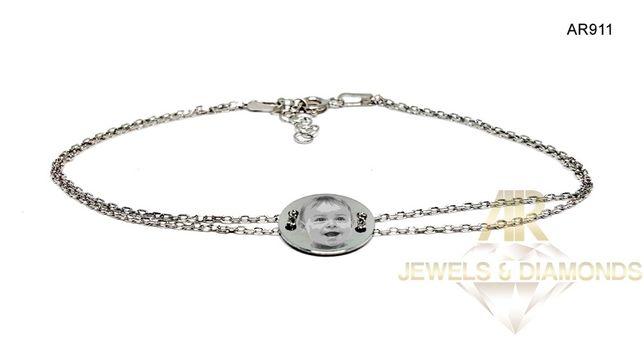 Bratara Argint 925 Rodiat personalizata cu poza sau textul dorit!