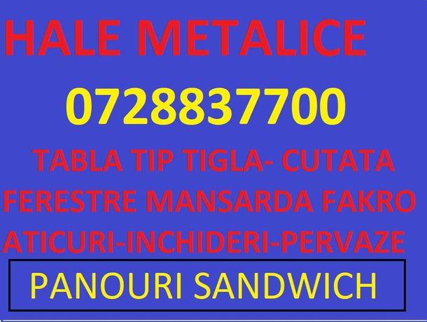 Hale metalice, panouri sandwich , tabla tip tigla, cutata , pervaze