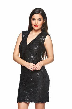 Rochie neagra de ocazie/eleganta cu dantela și paiete noua