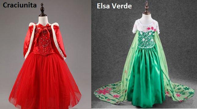 Rochita Craciunita, Rochie petrecere Elsa Frozen verde 4,5, 6,7, 8 ani