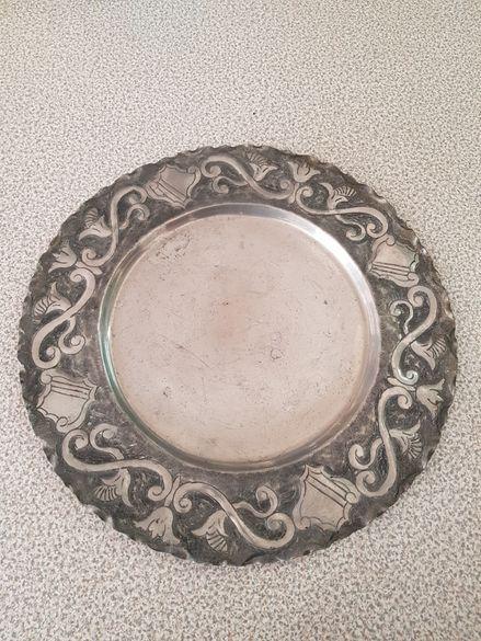 Декоративна метална чиния от сплав - пютър / олово / калай / сребро