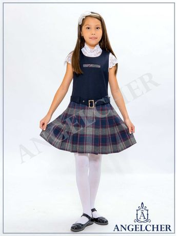 Школьный сарафан для первоклассницы (сарафан - шотландка)