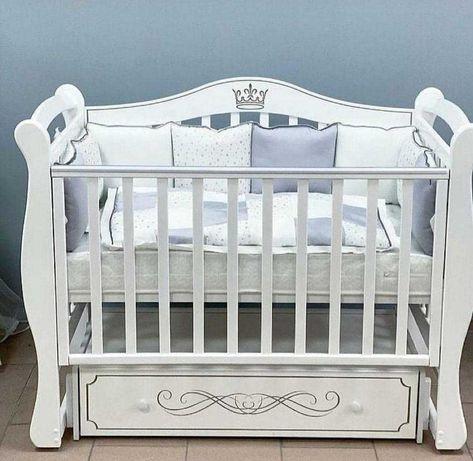 """Детская  манеж кроватка """"Корона"""", с универсальным маятником и ящиком"""