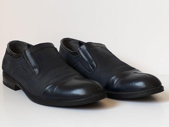 мъжки спортно-елегантни тъмно сини обувки - номер 42,стелка 27,5-28 см