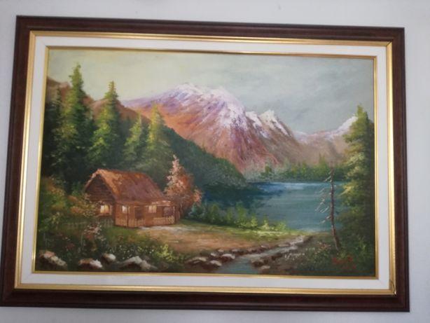 Tablou / pictura peisaj primavara, pictor Iulian Banut