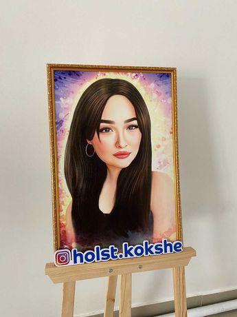 Портреты на холсте в Кокшетау изготовленте подарок