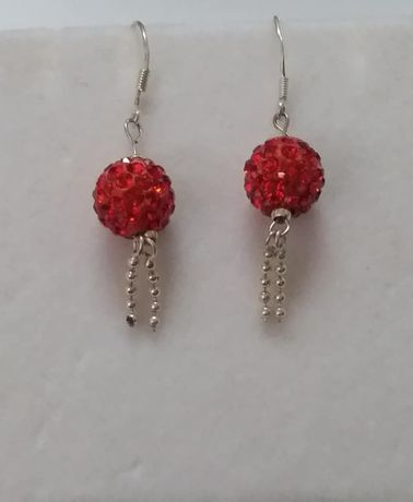 R102, cercei argint 925,noi/marcati,zirconii rosii,lungi