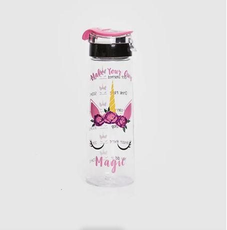 Прозрачная бутылка для воды с принтом
