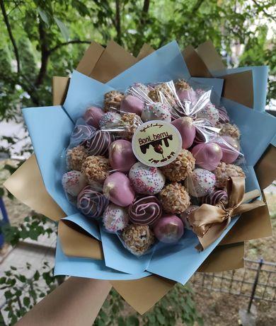 Клубника в шоколаде Алматы, сладкий букет,фруктовый,цветы,гул,подарок