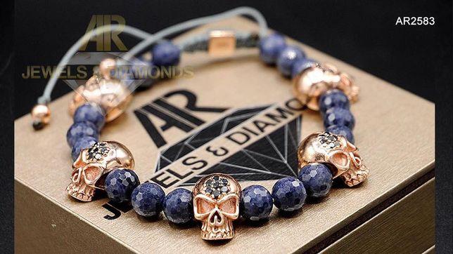 Bratara Aur Rose 14K cu Diamante Negre si Sapphire (AR2583)