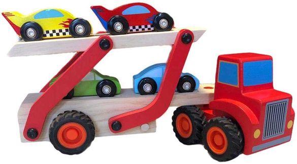 Детски дървен комплект- влекач с ремърке и 4 дървени колички от MM