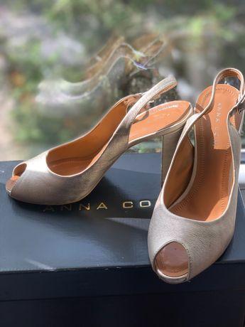 Sandale piele aurii / crem Anna Cori marime 37