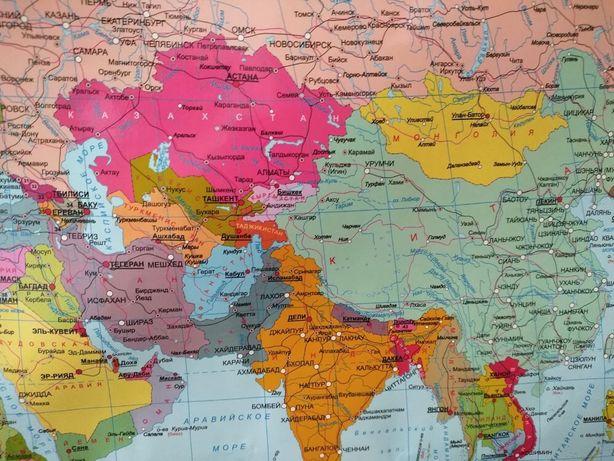 Политическая карта мира! Карта Казахстана!