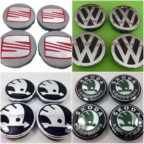 Метални Капачки за джанти  VW SKODA SEAT 60/55мм 4бр. Сеат Шкода