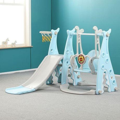 Детский игровой комплекс, горка, качели, баскетбольные стойки