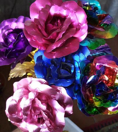 Золотая розовая фиолетовая красная малиновая Роза 24К