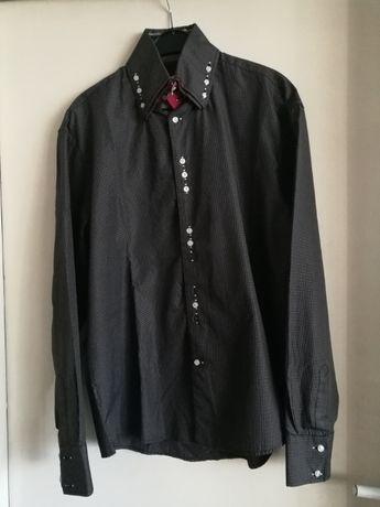 Мъжка тъмно сива карирана риза с дълъг ръкав Ferlucci