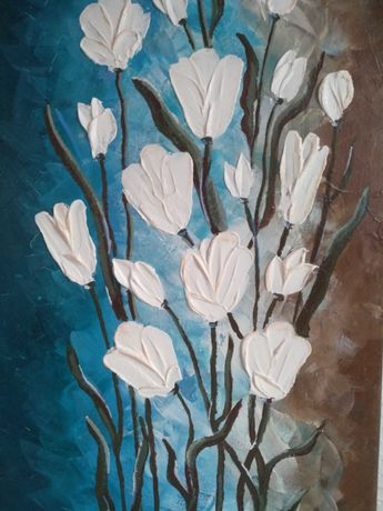 Современная картина холст объемная акрил паста цветы тюльпаны