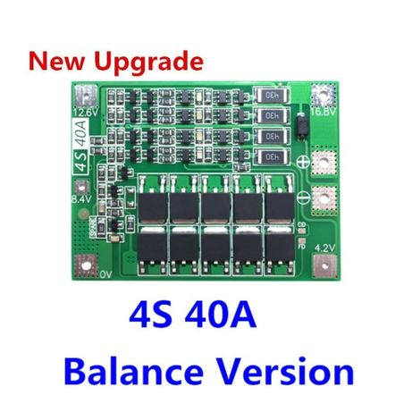 4S BMS 16.8V 40A, защитна платка с балансно зареждане, PCB BMS board