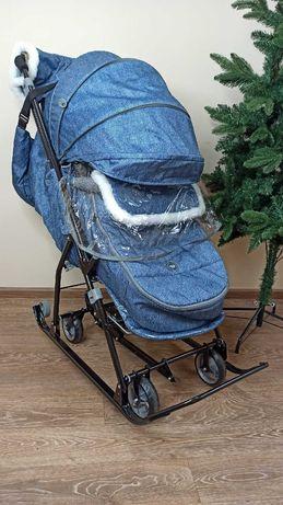 Санки-коляска складные, сиреневые