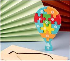 Puzzle lemn 3D Montessori, balon cu cifre, 10 piese