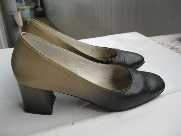 Дамски обувки №38, нюансирани в черно и бежово за 15 лв