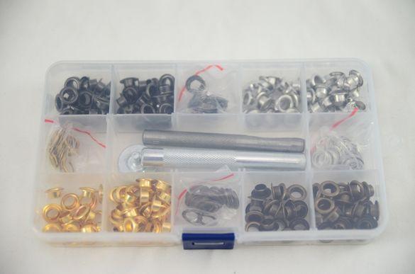 капси 200 бр, 4 цвята, 6 мм, и инструменти за монтаж, внос от Англия