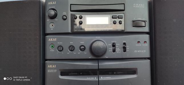 Radio CD Player Akai- Mic Mixing cu dublu casete .