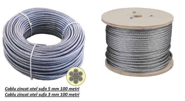 Cablu zincat otel sufa 4 mm 100 m Cablu zincat otel sufa 5 mm 100 m