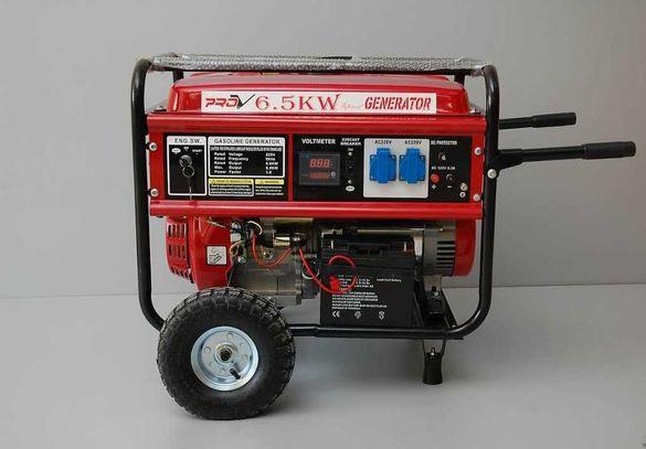 Бензинов Генератор за ток 6.5 Kw Агрегат за ток със стартер и дисплей