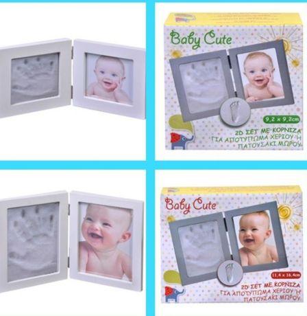 Комплект Рамка за Снимка Отпечатък глина Ръчичка Крак за бебе бебета