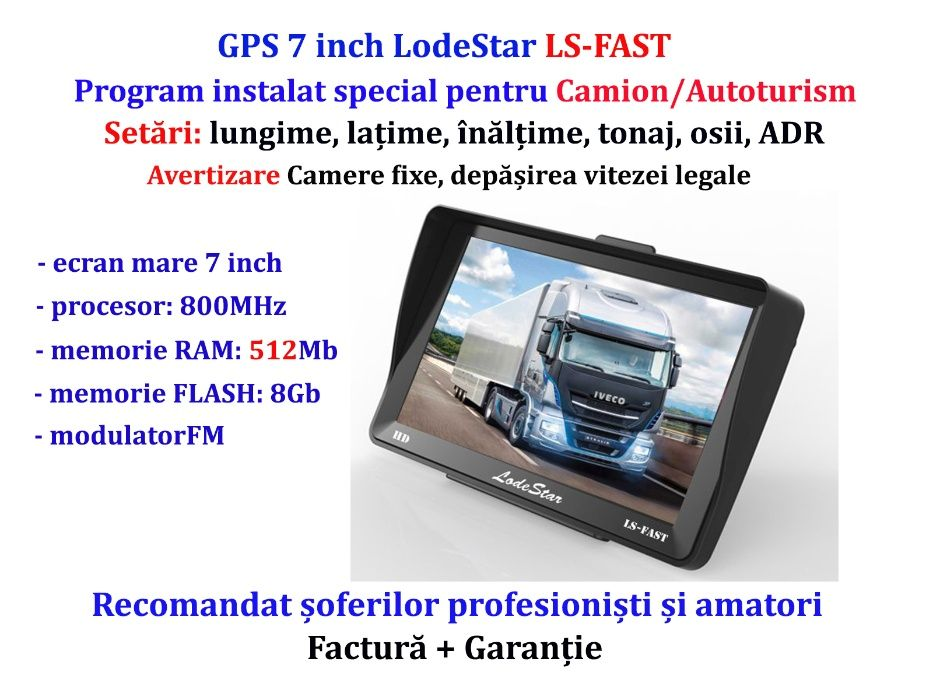 Navigator GPS Auto 7 inch, soft pentru Camion, harti 2021 toata Europa